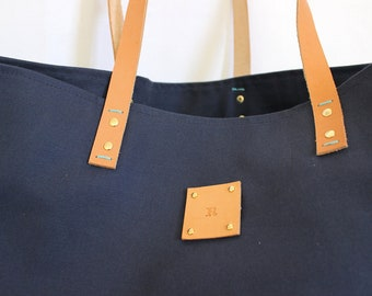 Canvas Tote... SPECIALIZED LABEL... Beach bag sized NAVY tote bag
