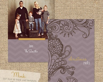 """INSTANT DOWNLOAD """"Mink"""" Custom Photo Christmas Card Template"""