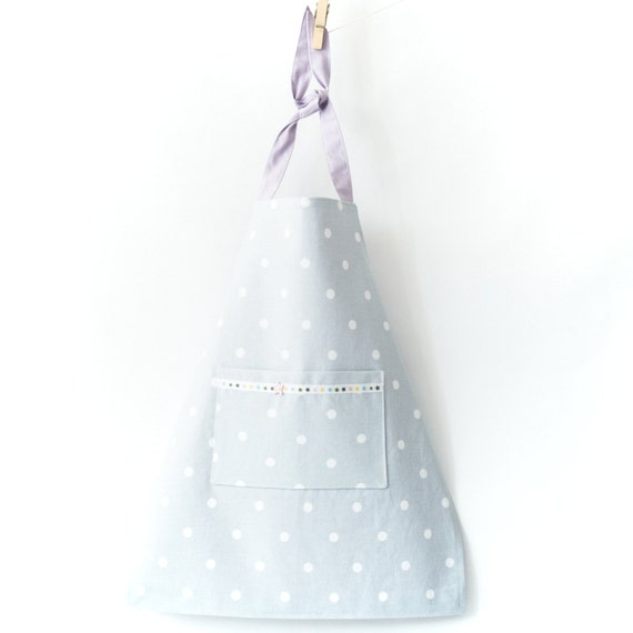 Gray Polka Dot Girls Apron with Star Detail Kids Velcro Adjustable