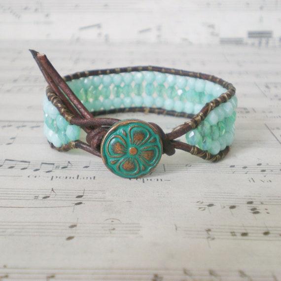 boho beaded leather wrap, aqua, brown leather, chan luu style, turquoise, cuff bracelet