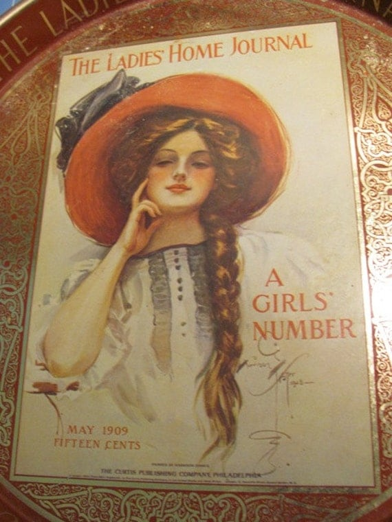 Vintage Tin BAR Serving Tray 1909  The Ladies Home Journal advertising 70s Kitchen Collectible shabby chic french country gibson girl