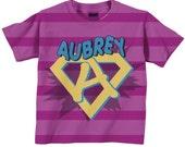Girls Superhero Shirt, Personalized Super Hero Birthday T-Shirt with Cape