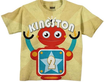 Boys Robot Shirt, Personalized Birthday T-Shirt Top