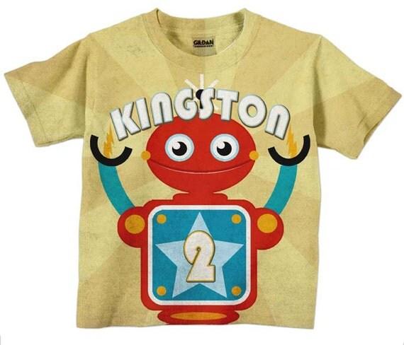 Boys Robot Shirt, Personalized Birthday T-Shirt Top