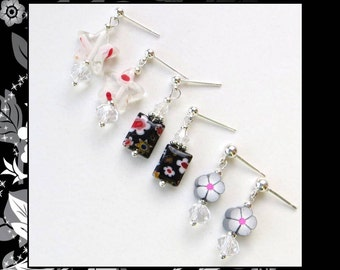 EVENING GARDEN- Girl's Post Earring Set- Polymer Clay and Millefiore Beads with Faceted Crystals- Silver Plated Posts