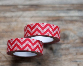Japanese Washi Tape - Masking Tape Roll in Red and White Chevron Pattern