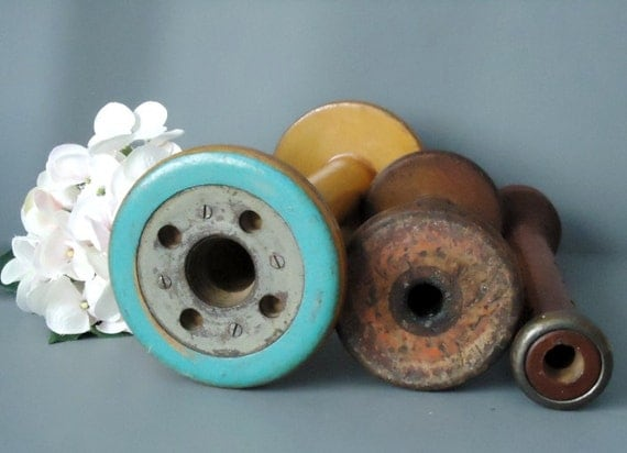 Vintage Wooden Spools and Spindles -Vintage Mill Spools and Spindles - Rustic Industrial Decor - Shabby Chic Decor
