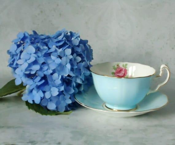 Vintage Robins Egg Blue Tea Cup and Saucer Set - Blue Cup and Saucer - Vintage Teacup and Sauce Set