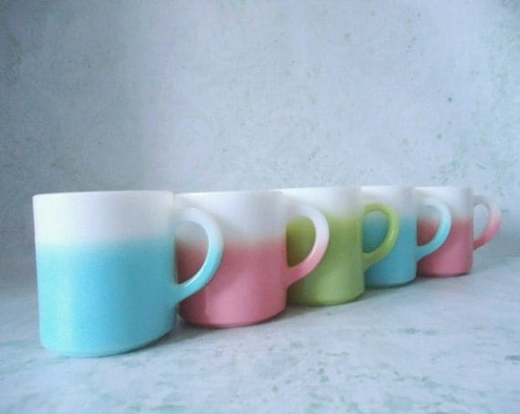 Five Hazel Atlas Mugs - Hazel Atlas Crinoline Ripple Mugs - Vintage Glass Coffee Mugs