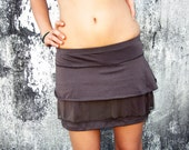 CLEARANCE SALE Funky ruffle mini skirt, brown skirt