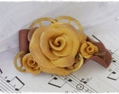 Gold Rose Brooch, Steampunk Brooch, Polymer Clay Broach, Clay Rose Pin, Hand-Sculpted Flower Brooch, Steampunk Jewelry - One Of A Kind