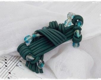 Emerald Green Brooch, Polymer Clay Brooch, Geometric Beaded Broach, Abstract Scarf Pin, Sea Blue Brooch, Spaghetti Clay Brooch, Stripped Pin