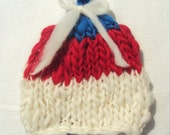 SALE Newborn Hand Knitted Merino Yarn Wool Pixie Hat Photography Prop Ready to Ship