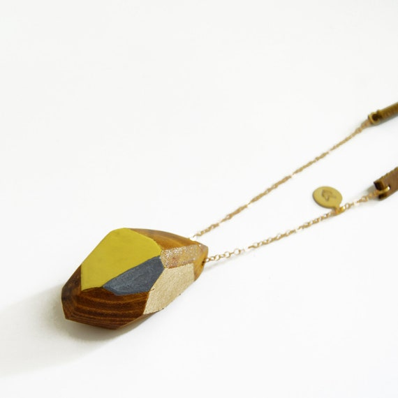KARVE one-of-a-kind, mustard yellow, grey and gold leafed faceted wood and leather necklace: no. 21 of 100