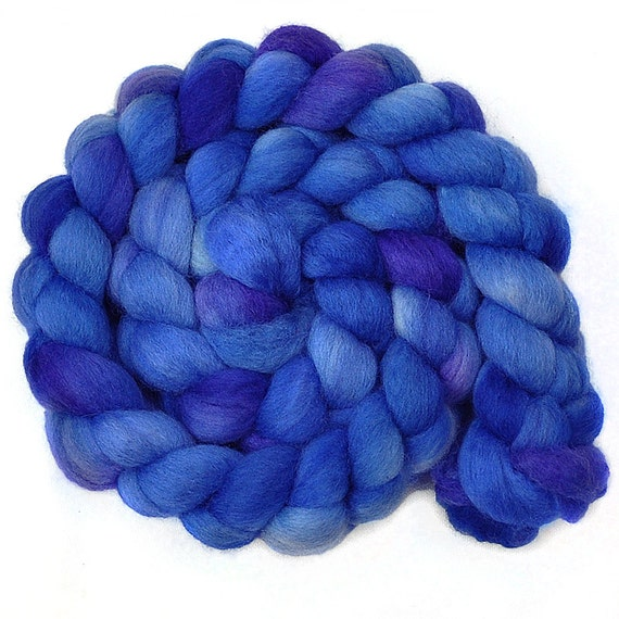 Hand painted roving - DOLPHIN SONG - Blue Faced Leicester  (BFL) wool spinning fiber, 4.1 ounces