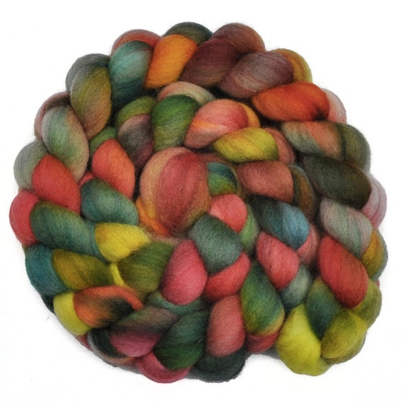 RESERVED for Angel - Handpainted roving - Autumn Vista Too - Falkland wool spinning fiber, 4.2 ounces