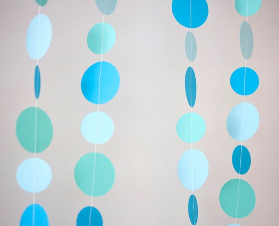 circle paper garland shades of blue and green party decoration birthday party baby shower wedding bridal shower