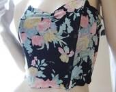 Vintage VICTORIAS SECRET Crown Label Black Floral 100% Silk Bustier Panty Set MED M