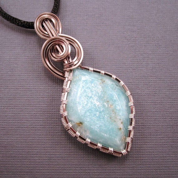 Wire Wrapped Pendant, Shimmering Amazonite Cabochon in Enameled Copper Wire