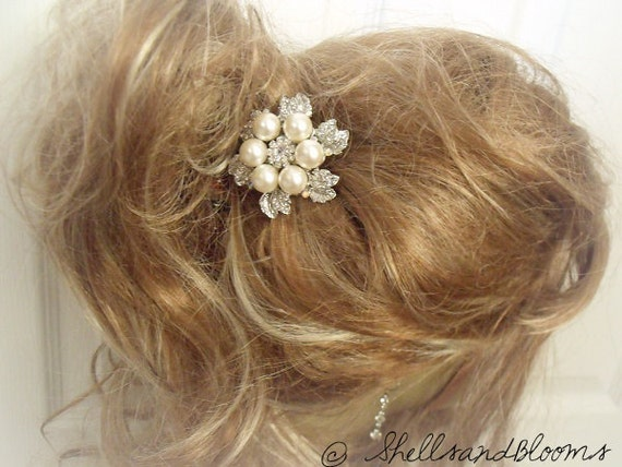 Wedding Bridal Rhinestone and Pearl Hair Clip - Veil Accessory - Crystal Hair Jewelry