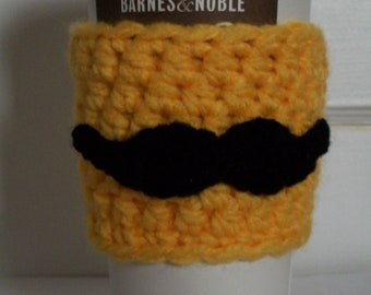 Moustache Crochet Coffee Cozy Yellow