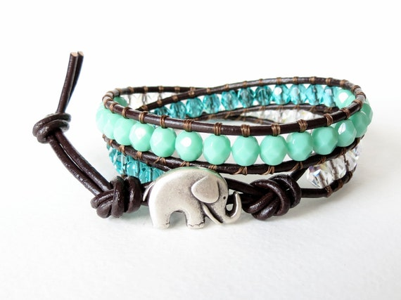 Elephant wrap bracelet, opaque turquoise, teal and crystal AB Czech glass beads on brown leather, wrap cuff bracelet, good luck bracelet