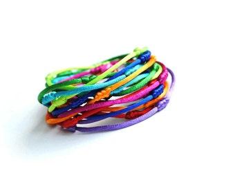 Double wrap bracelet, colorful bracelet, multistrand bracelet, satin cord bracelet, rattail bracelet, rainbow bracelet, multicolor bracelet