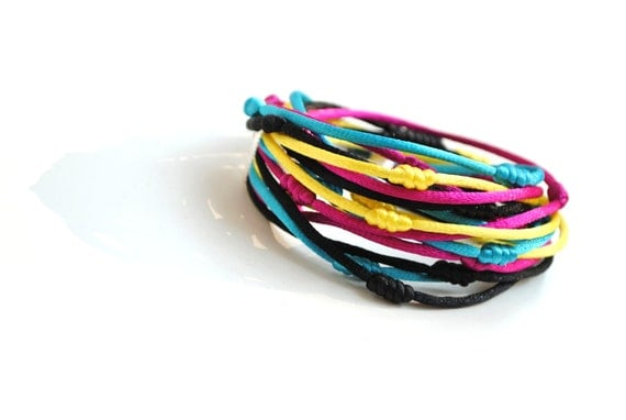 Multistrand double wrap bracelet with yellow, fuchsia, turquoise and black knotted satin cords, winter trends, Christmas gift, present