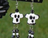 Black and White Ceramic Ghost with Matching Crystals Halloween Dangling Earrings