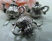2 Tibetan Silver Teapot Charms 10MM