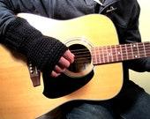 Men's Fingerless Gloves Black Christmas Winter Handmade Crochet Gifts For Guys Joyful Gabby