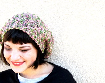 slouchy crochet hat hipster slouch multi colored pastels floral