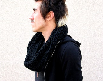 mens infinity scarf hipster black circle crochet Handmade Gifts for Guys Under 50 dollars