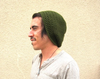 Mens Slouchy Crochet Hat Slouch Beenie Beanie Green Gifts For Guys St. Patrick's Day