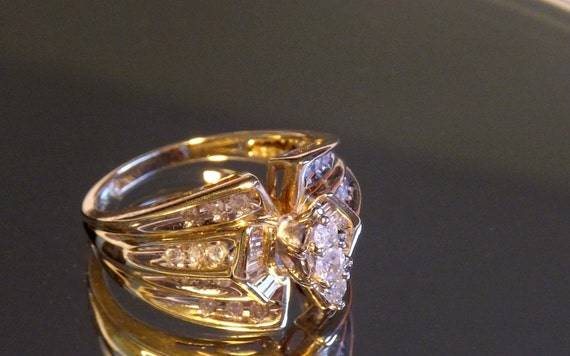 Vintage Marquise Style Diamond Cluster Ring/1 Carat/ 14K Yellow Gold/Enagagement