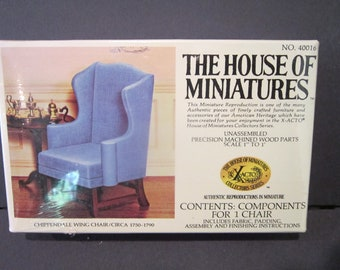 Chippendale Wing Chair The House of Miniatures  Xacto craft kit Circa 1750-1790 no 40016