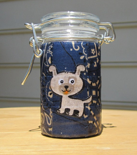 Small Glass Stash Jar : Latch-Top Jar - Puppy Dog over Navy Blue