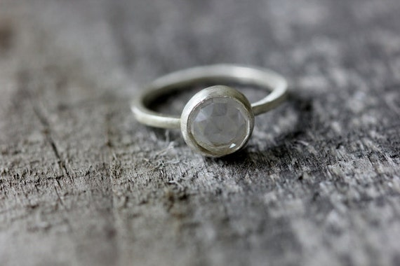 Crystal Quartz & Sterling Ring, Satin Finish, Faceted Sparkly Stone, Size 7.75