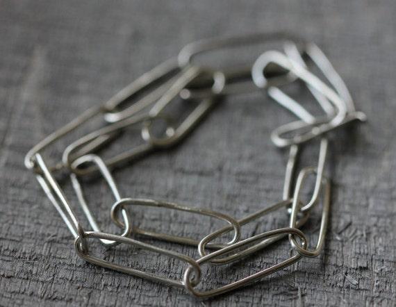 Sterling Oblong Link Choker, Hand-Formed, Minimalist & Versatile
