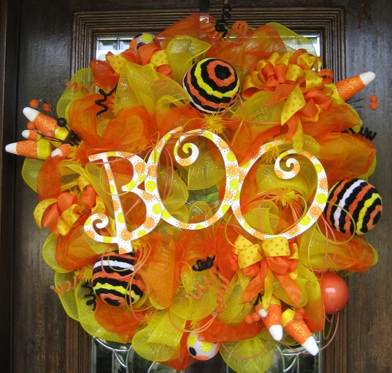 "30"" Deco Mesh BOO CANDY CORN Wreath"