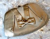 NOS 50s 60s Champagne Satin Evening Bag Clutch Handbag Purse Pocketbook Party Bow Gold Wedding Rhinestone 1950s 1960s Mad Men Betty Draper