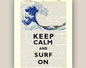 Keep calm surf on Print 11x14 on dictionary page ''wave'',  Nautical art, Marine decor. Gift for surfers