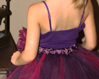 Plum and hot pink ballerina tutu skirt for weddings, flower girls, recital, birthday or just for a fairy costume