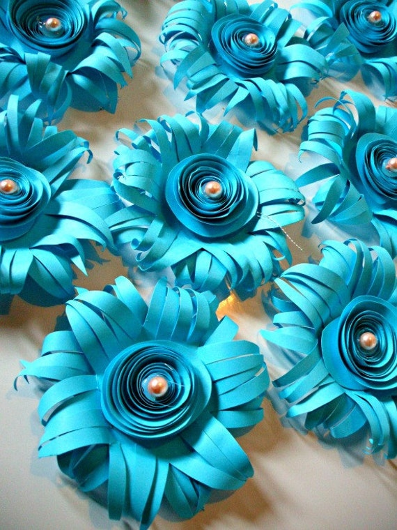 50 medium turquoise paper flowers for wedding Bouquets, Events and Crafts,...