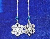 Swarovski Crystal & Silver Snowflake Holiday Earrings
