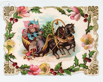 Patriotic Santa Victorian Christmas Art - Old-Fashioned Santa in a Horse Drawn Sleigh, American Flags, Giclee Repro of Antique Die-Cut