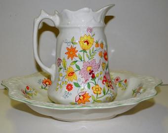 Vintage Porcelain Dish and pitcher, Old Foley, James Kent, Ltd., England, Floral Fantasy