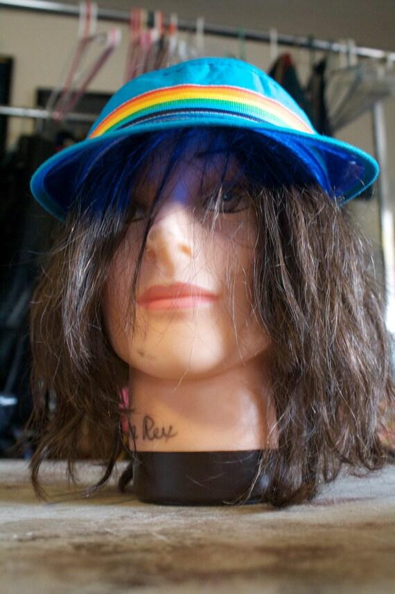 neon blue rainbow 80s poker visor cap -2