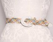 Leather Belt / Vintage 1980s Colorful Braided Leather Belt / Medium