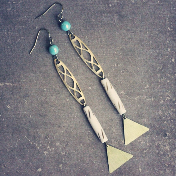 donoma. long teal and bone earrings with brass triangles.